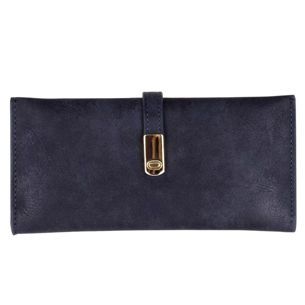- Slim Vegan Leather Clutch Wallet with Strap Closure, Navy Blue