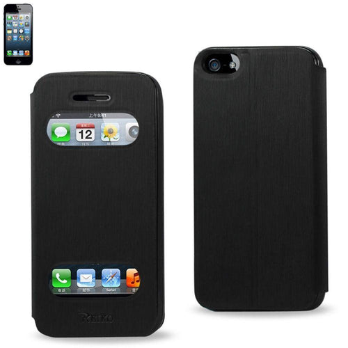 Apple Iphone 5 - Open View with Call and Answer Flip Case, Black for Apple iPhone 5/iPhone 5s/iPhone SE
