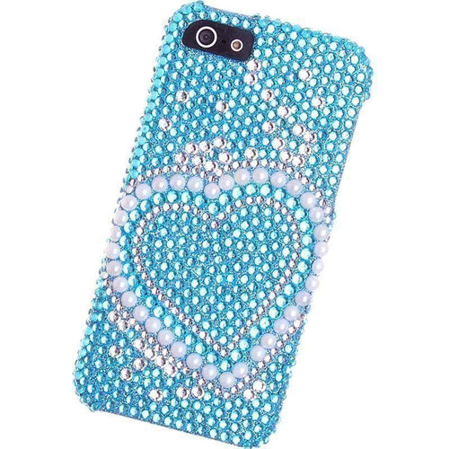 Apple Iphone Se - Pearl Heart Bling Case, Blue for Apple iPhone 5/iPhone 5s/iPhone SE