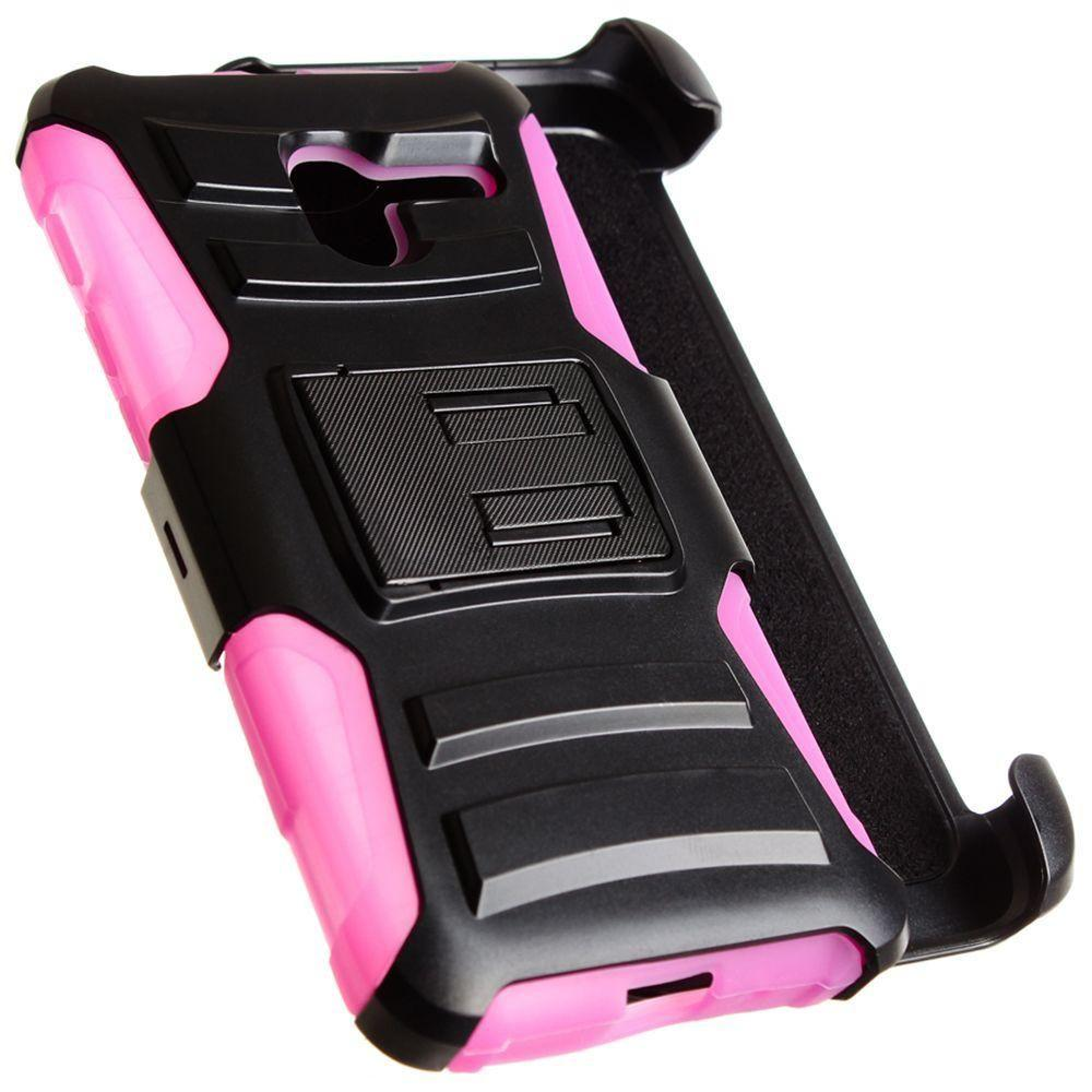 - My.Carbon 3-in-1 Rugged Case with Belt Clip Holster, Black/Hot Pink