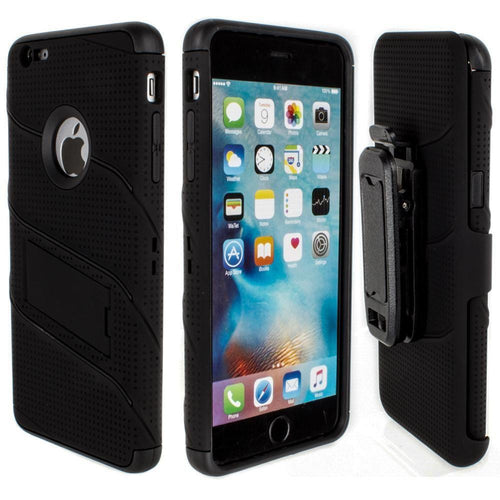Apple Iphone 6s Plus - RoBolt Heavy-Duty Rugged Case and Holster Combo, Black for Apple iPhone 6 Plus/iPhone 6s Plus