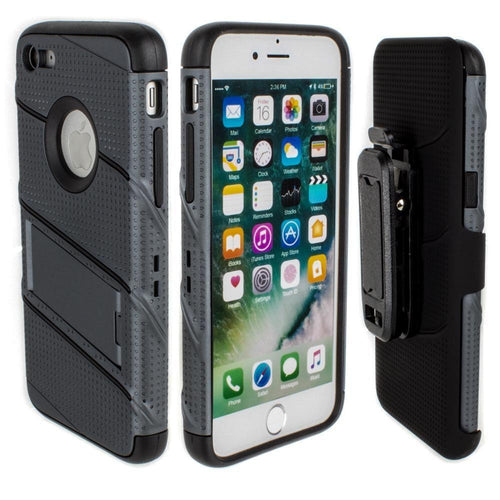 Apple Iphone 6 - RoBolt Heavy-Duty Rugged Case and Holster Combo, Dark Gray/Black for Apple iPhone 6/iPhone 6s