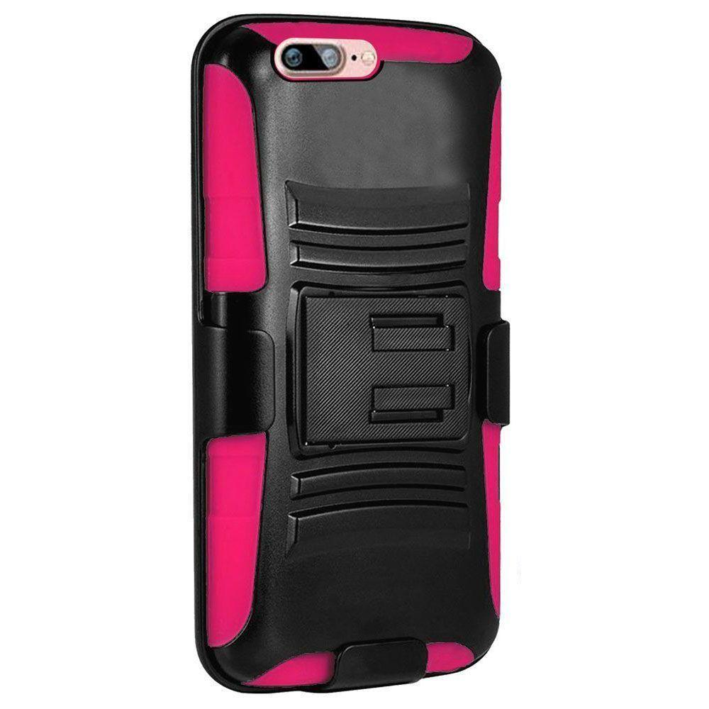 - My.Carbon 3-in-1 Rugged Case with Belt Clip Holster, Black/Hot Pink for Apple iPhone 7/iPhone 8