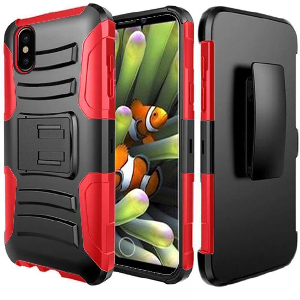 - My.Carbon 3-in-1 Rugged Case with Holster, Black/Red for Apple iPhone X