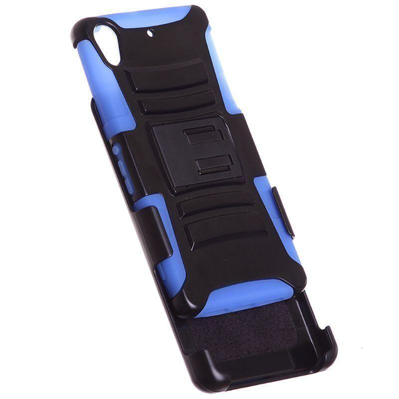 - My.Carbon 3-in-1 Armor Rugged Case with Belt Clip and Holster, Black/Blue