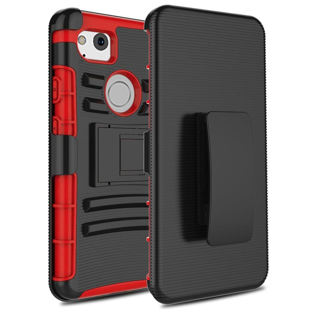 - My.Carbon 3-in-1 Rugged Case with Holster, Red/Black