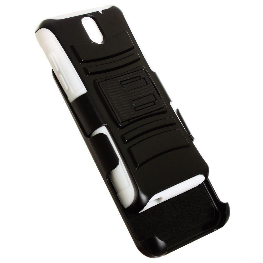 - My.Carbon 3-in-1 Armor Rugged Case with Belt Clip and Holster, Black/White