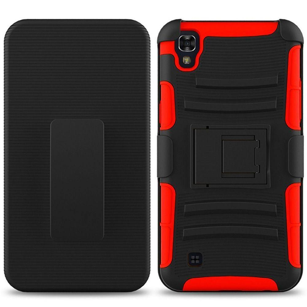 - My.Carbon 3-in-1 Rugged Case with Belt Clip Holster, Red/Black