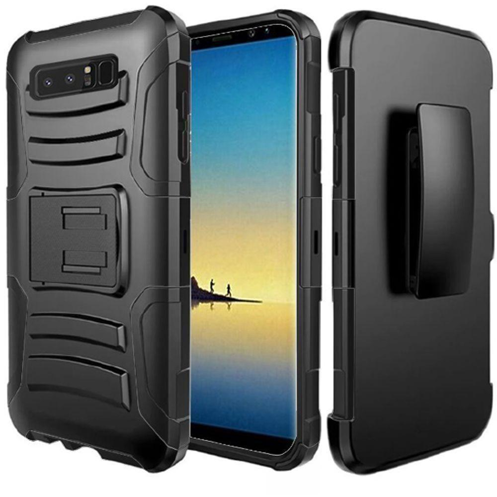 - My.Carbon 3-in-1 Rugged Case with Holster, Black for Samsung Galaxy Note 8