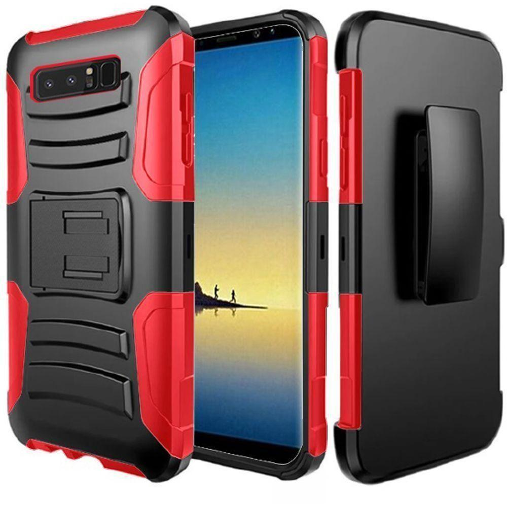- My.Carbon 3-in-1 Rugged Case with Holster, Red/Red for Samsung Galaxy Note 8