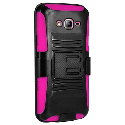 Samsung Galaxy On5 - My.Carbon 3-in-1 Rugged Case with Belt Clip Holster, Black/Hot Pink