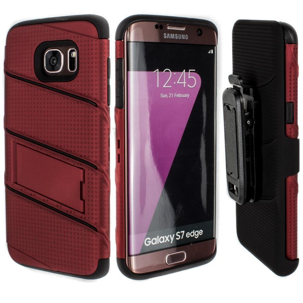 - RoBolt Heavy-Duty Rugged Case and Holster Combo, Red/Black for Samsung Galaxy S7 Edge