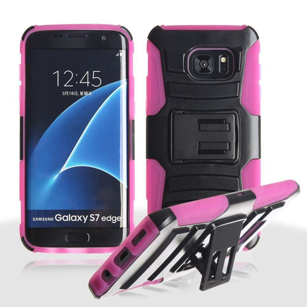 - My.Carbon 3-in-1 Rugged Case with Belt Clip Holster, Black/Pink for Samsung Galaxy S7 Edge