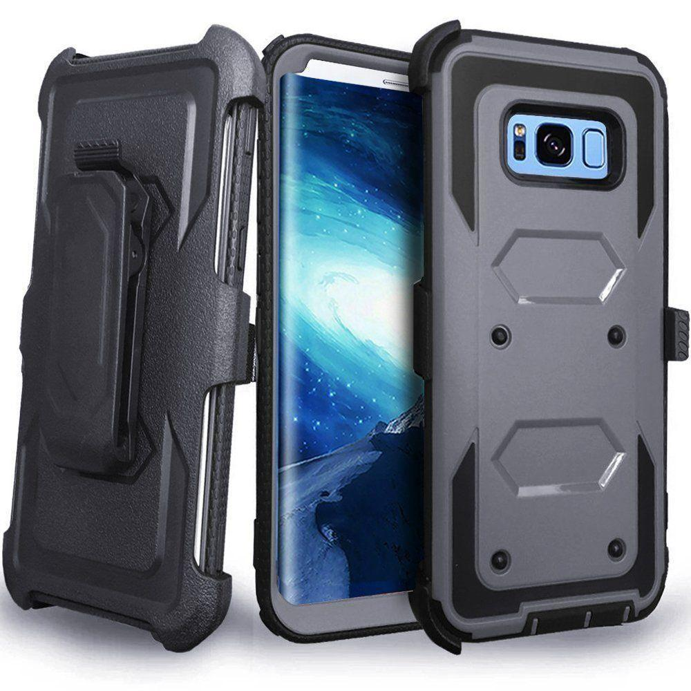 - Triple Protection Rugged Case and Holster Shell Combo, Gray/Black for Galaxy S8 Plus
