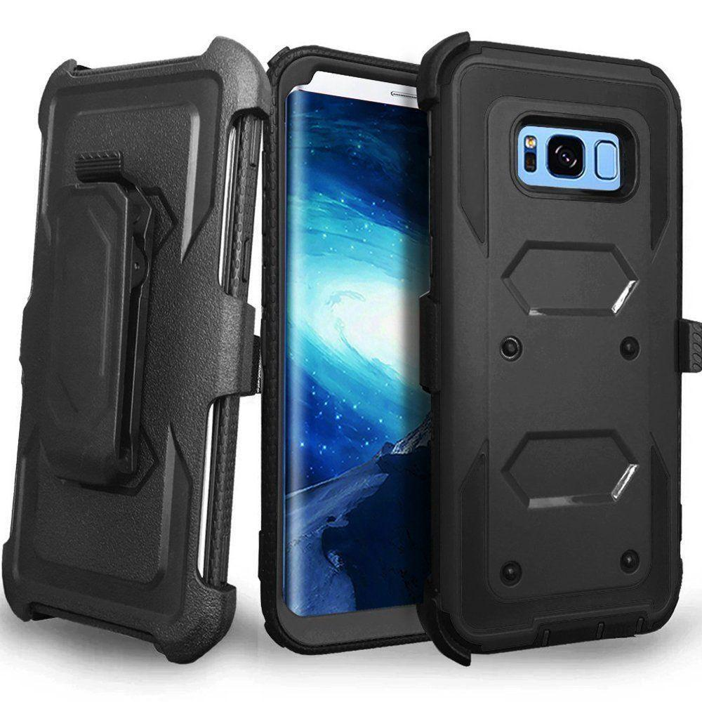 - Triple Protection Rugged Case and Holster Shell Combo, Black for Galaxy S8 Plus