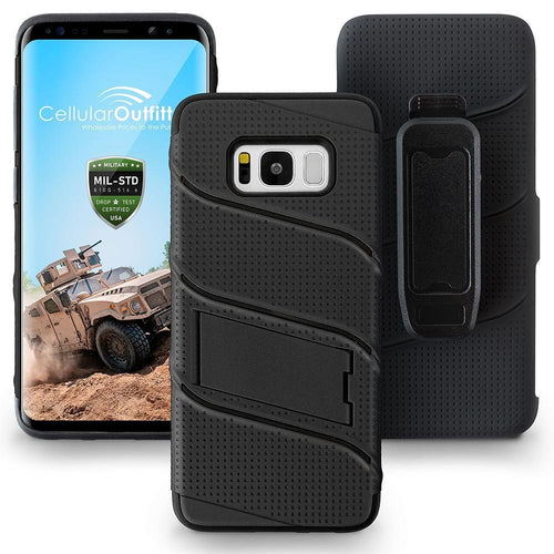 Samsung Galaxy S8 Plus - RoBolt Heavy-Duty Rugged Case and Holster Combo, Black for Galaxy S8 Plus