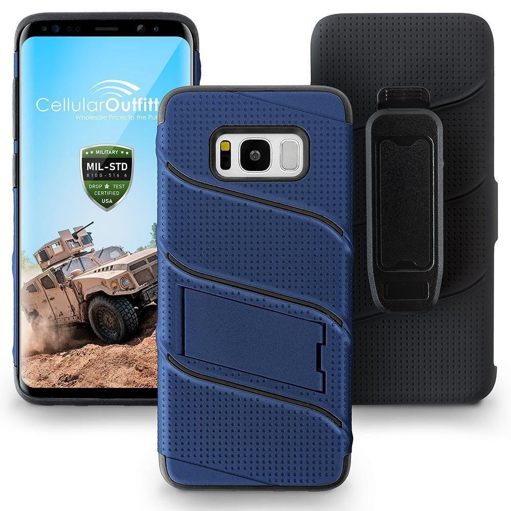 - RoBolt Heavy-Duty Rugged Case and Holster Combo, Navy Blue/Black for Galaxy S8 Plus