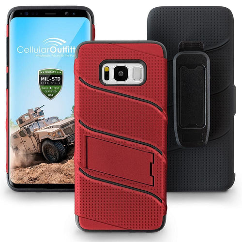 Samsung Galaxy S8 Plus - RoBolt Heavy-Duty Rugged Case and Holster Combo, Red/Black for Galaxy S8 Plus