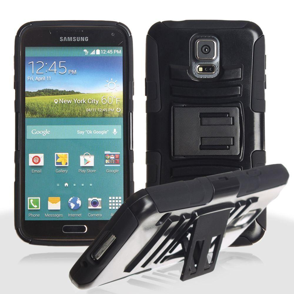 - My.Carbon 3-in-1 Rugged Case with Belt Clip Holster, Black for Samsung Galaxy S5