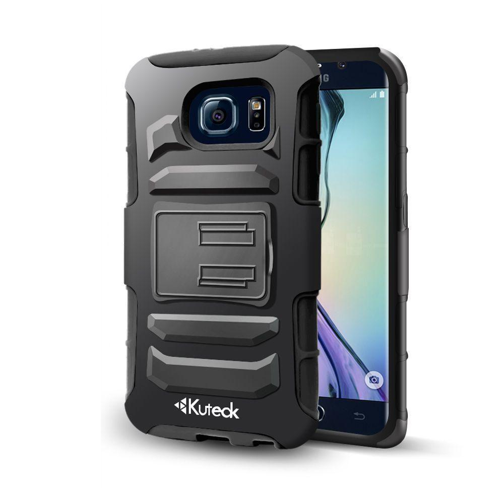 - Hybrid Box Case Belt Clip Rugged Case With Card Holder, Black for Galaxy S6