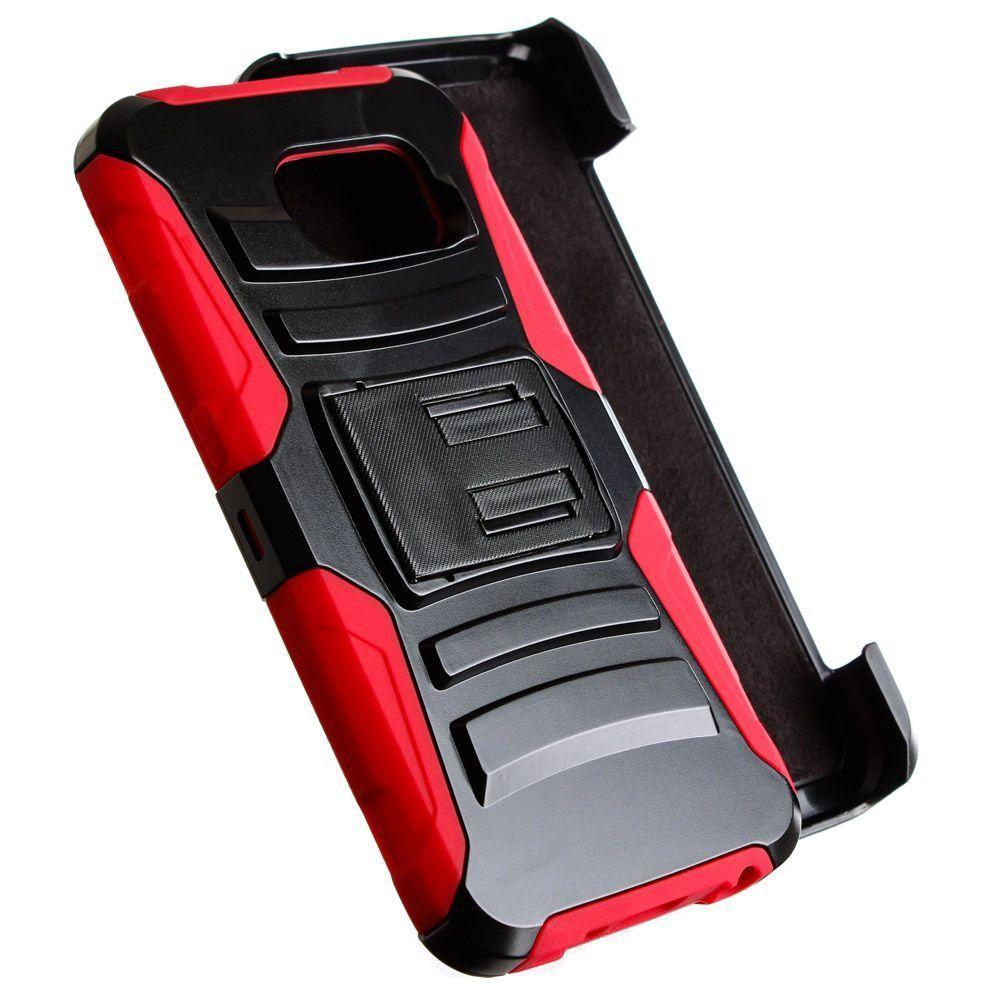 - My.Carbon 3-in-1 Rugged Case with Belt Clip Holster, Black/Red for Galaxy S6