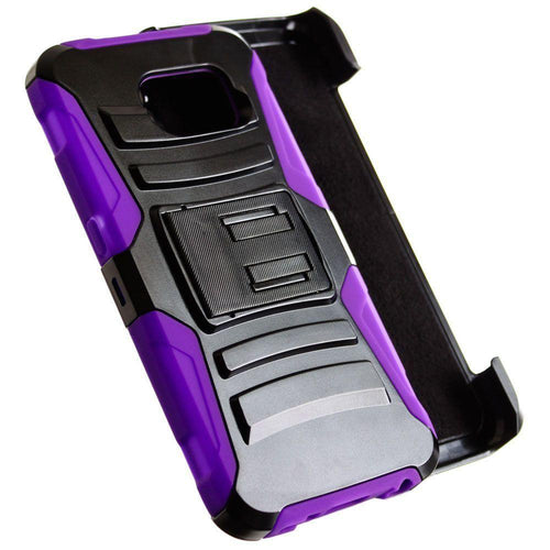 Samsung Galaxy S6 - My.Carbon 3-in-1 Rugged Case with Belt Clip Holster, Black/Purple for Galaxy S6