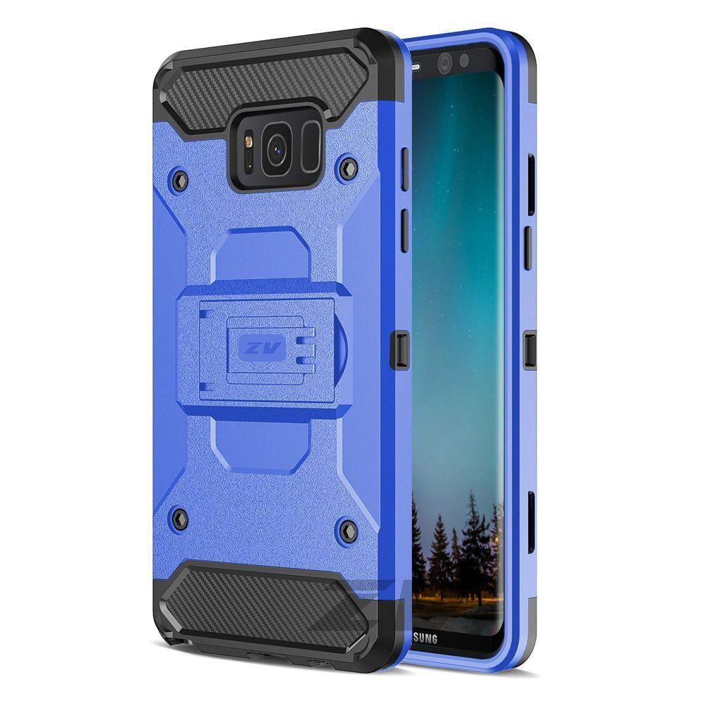 - Heavy Duty Tough Armor Case with Holster, Blue/Black for Samsung Galaxy S8
