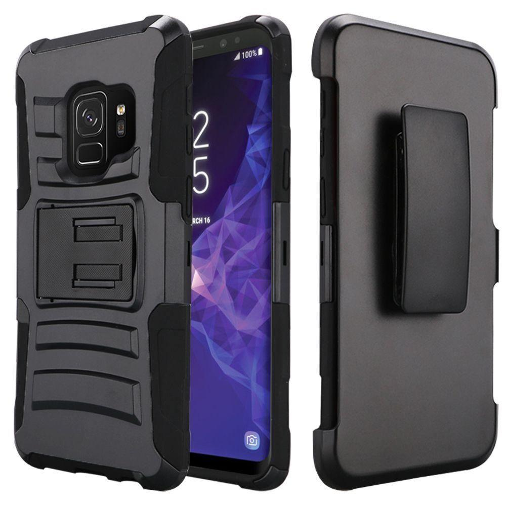 - My.Carbon 3-in-1 Rugged Case with Belt Clip Holster, Black for Samsung Galaxy S9