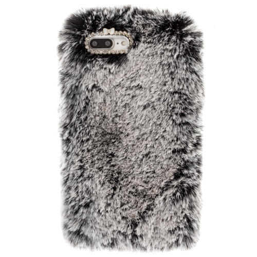 Apple Iphone 8 Plus - Soft Plush Faux Fur Phone Case, Gray for Apple iPhone 7 Plus/iPhone 8 Plus