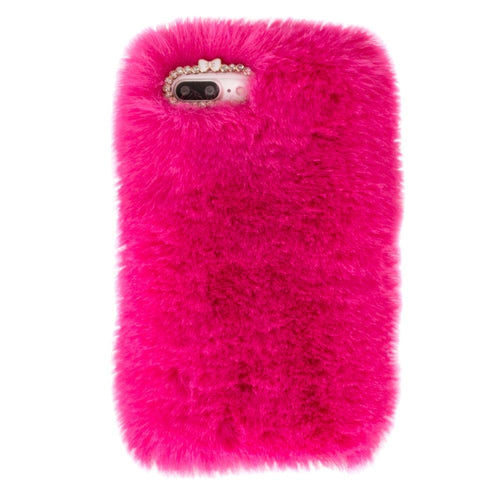 Apple Iphone 8 Plus - Soft Plush Faux Fur Phone Case, Fuchsia for Apple iPhone 7 Plus/iPhone 8 Plus