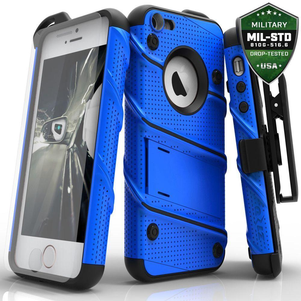 - Bolt Heavy-Duty Rugged Case, Holster and Screen Combo, Blue/Black for Apple iPhone 5/iPhone 5s/iPhone SE