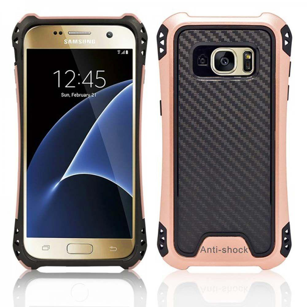 - Shockproof Hybrid Case, Black/Rose Gold for Samsung Galaxy S7 Edge