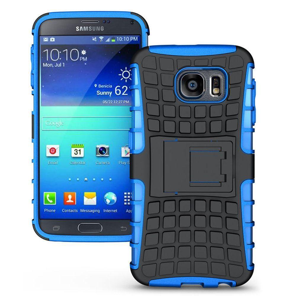 - Track Tire Design Rugged Hybrid Case with Kickstand, Blue/Blue for Galaxy S6