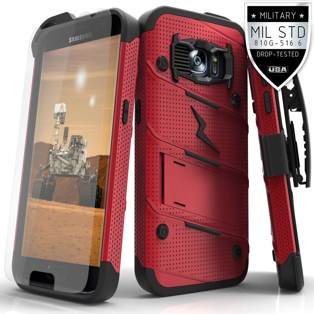 - Bolt Heavy-Duty Rugged Case, Holster and Screen Combo, Red/Black for Samsung Galaxy S7