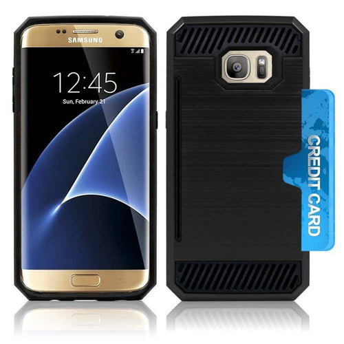 Samsung Galaxy S7 - Credit Card Pocket Rugged Case, Black for Samsung Galaxy S7
