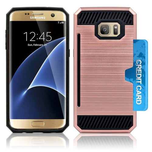Samsung Galaxy S7 - Credit Card Pocket Rugged Case, Rose Gold/Black for Samsung Galaxy S7