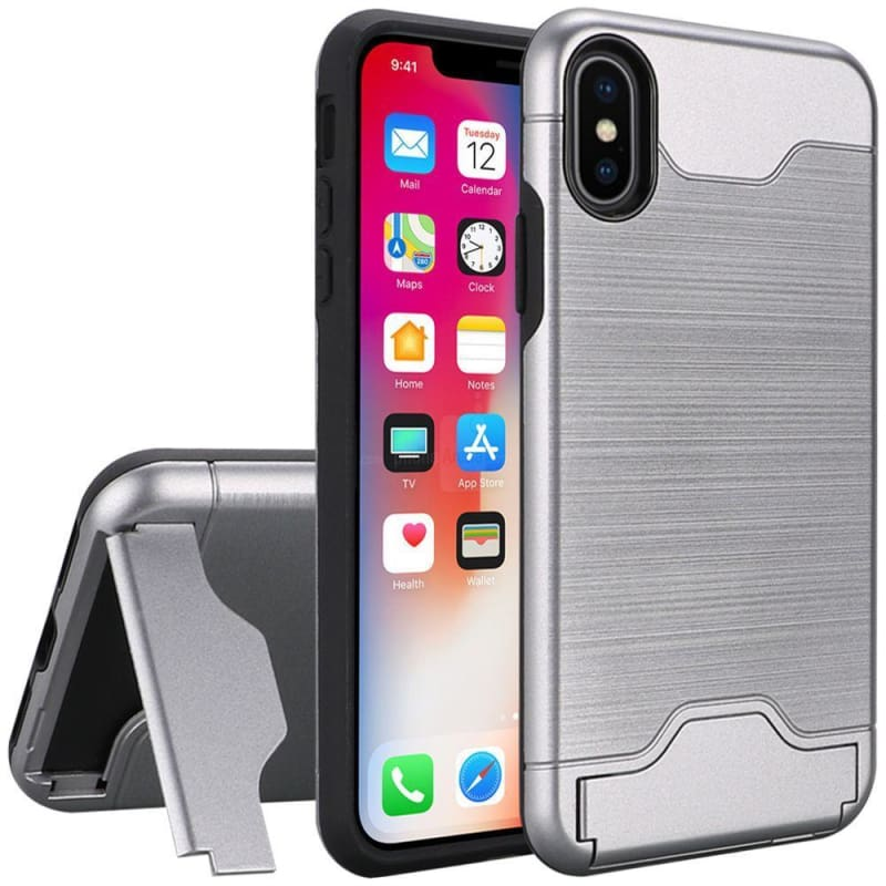 Bottom Card Holder Brushed Metal Hybrid Case, Gray for iPhone X/XS