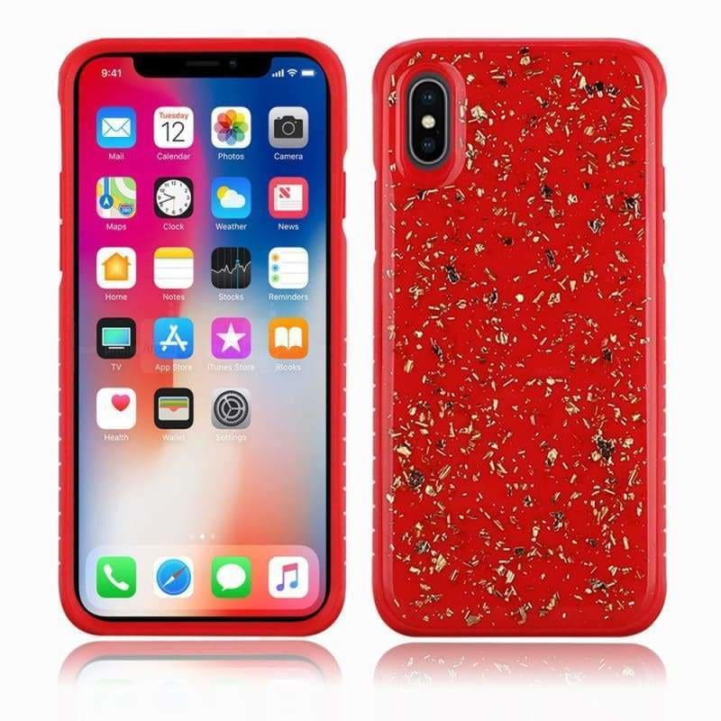 Apple iPhone XS Slim Hybrid Case with Scattered Frozen Glitter, Red