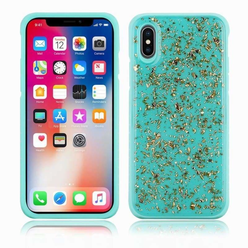Apple iPhone XS Slim Hybrid Case with Scattered Frozen Glitter, Teal