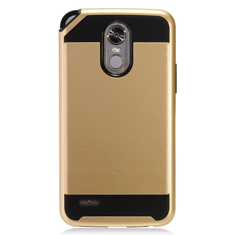 Fushion Metal Design Hybrid Rugged Case, Gold for LG Stylo 3