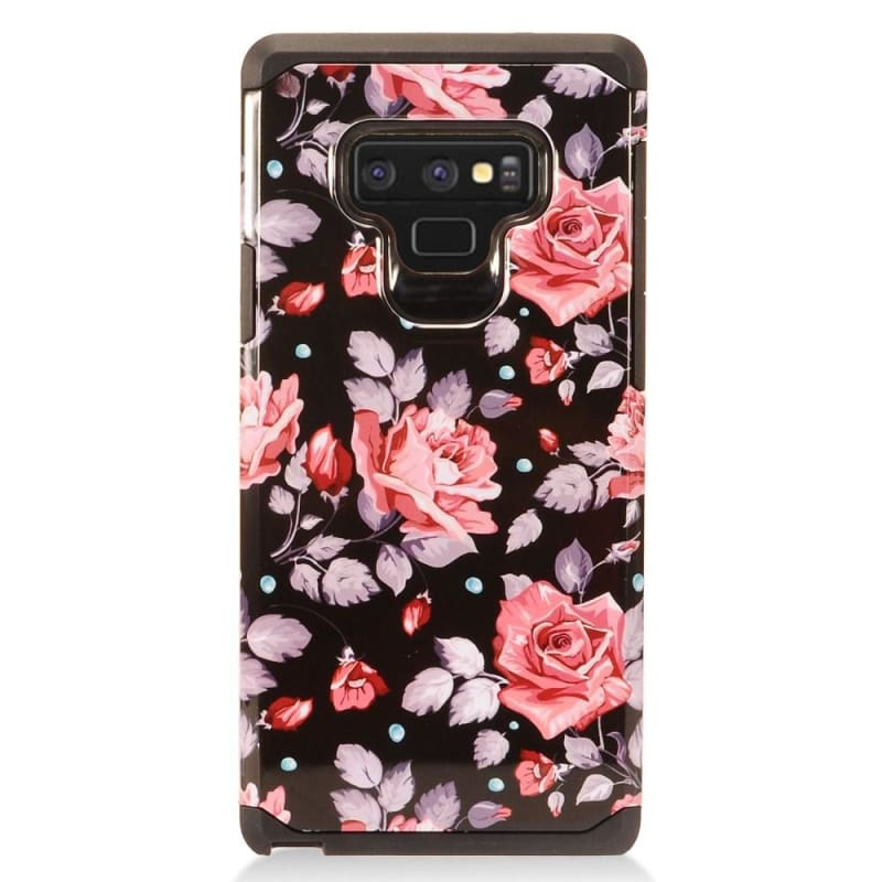 Pink Rose Design Slim Hybrid Rugged Case, Multi-Color for Samsung Galaxy Note 9