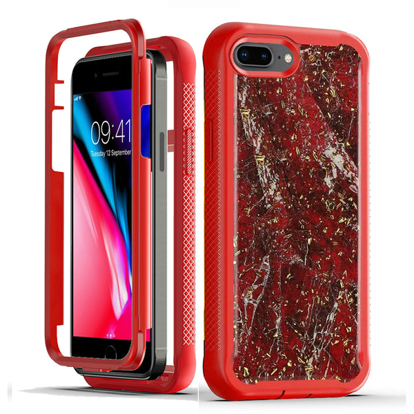 Epoxy Marble Design Frozen Flakes Hybrid Phone Case Cover, Red For