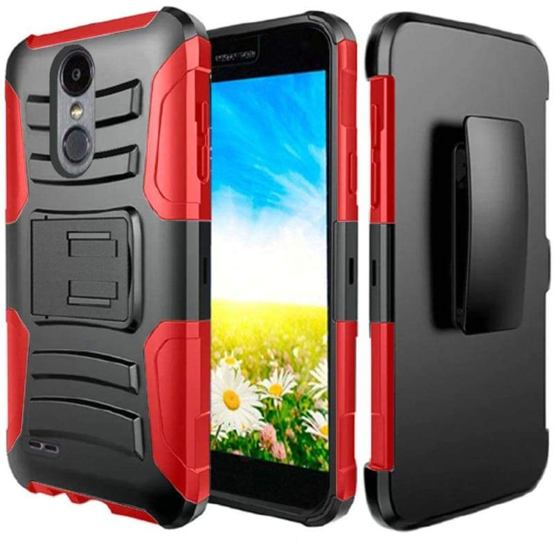 LG Fortune 2 My Carbon 3-in-1 Rugged Case with Belt Clip Holster, Red/Black