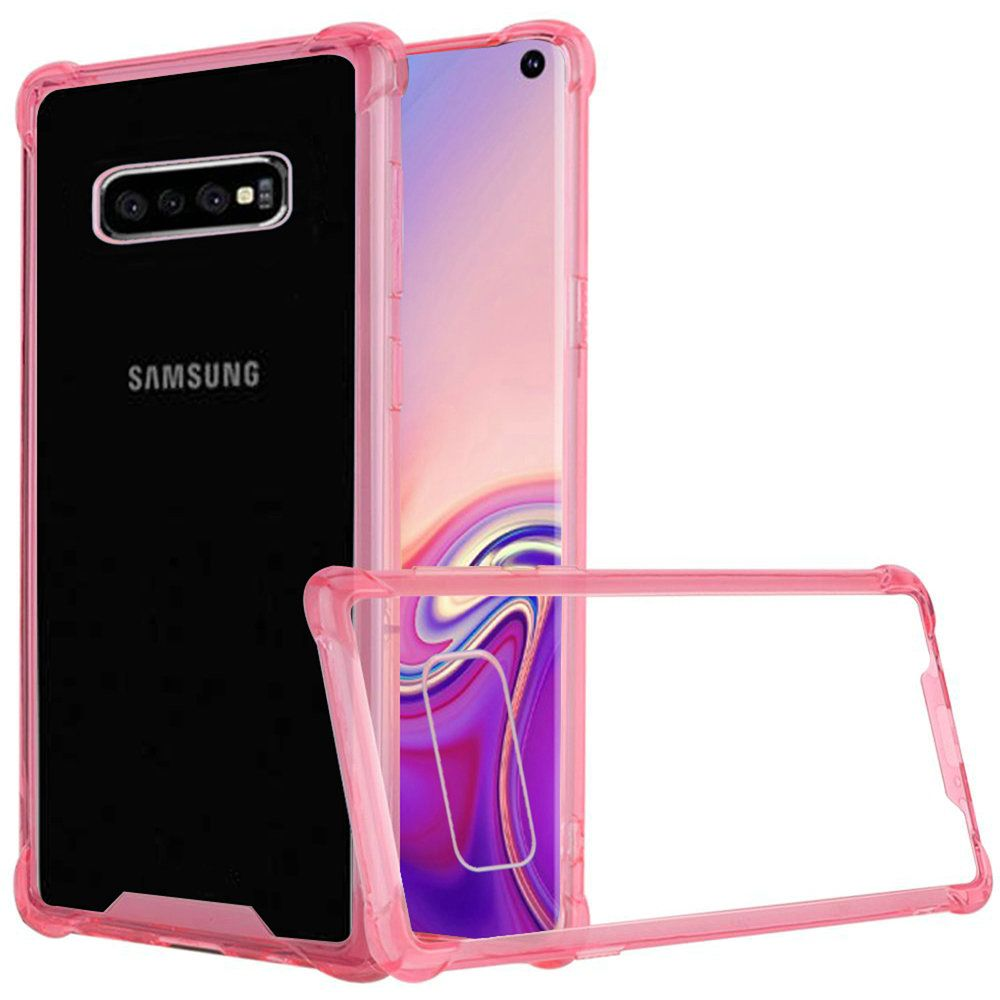 Premium Shockproof Bumper Transparent PC TPU Case, Pink/Clear for Samsung Galaxy S10