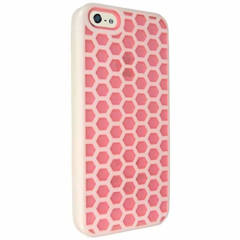 best sneakers 31c63 3ef24 Apple iPhone Se Honey Comb Hybrigel Case, Pink/White