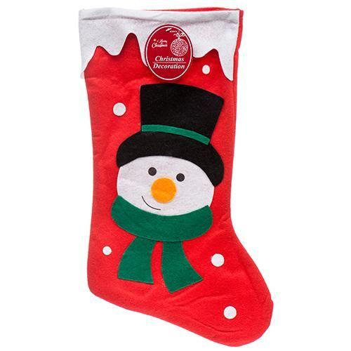 - Holiday Snowman Stocking 18 inches, Red/White