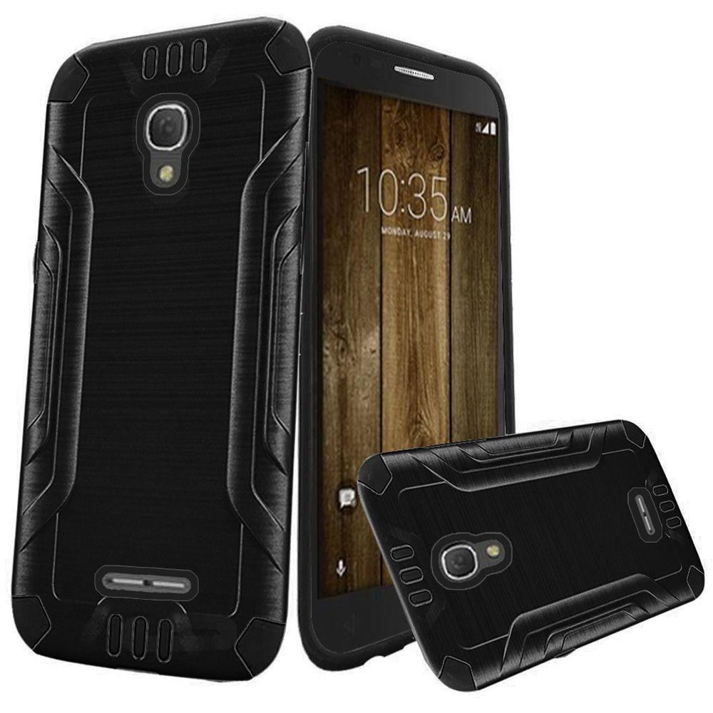 - Brushed Metal Design Combat Hybrid Rugged Case, Black