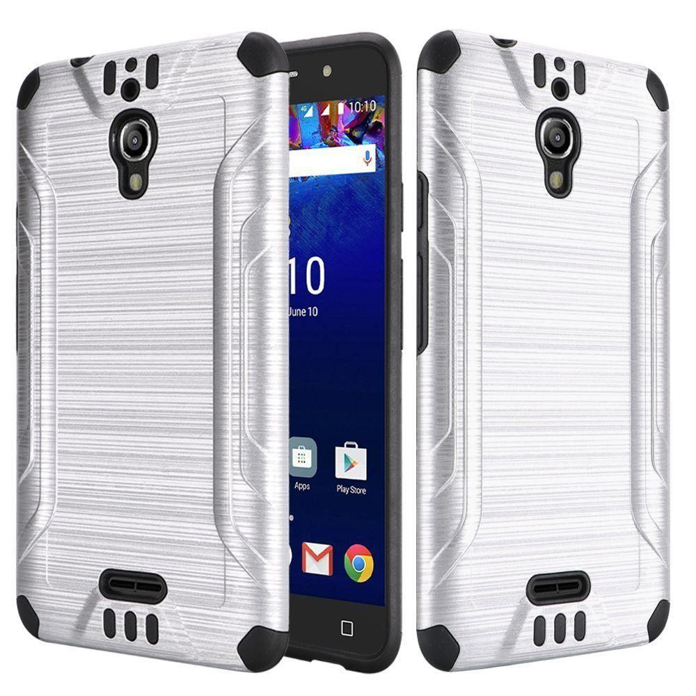 - Brushed Metal Design Combat Hybrid Rugged Case, Silver/Black