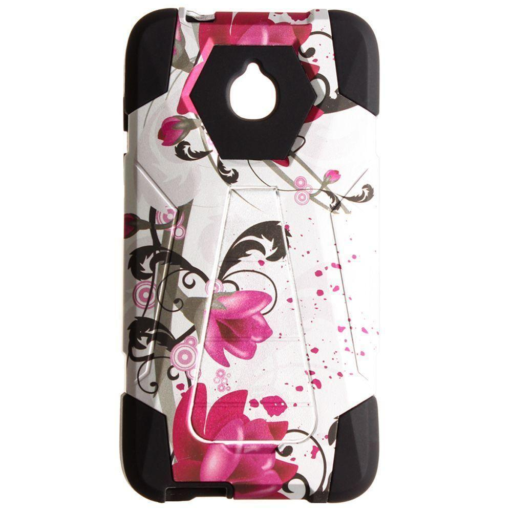 - Flowers and Vines Mighty Dual Layer Rugged Case, Pink/White