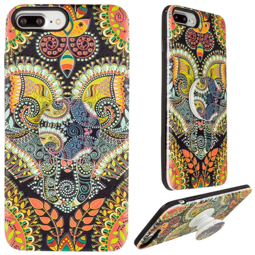 - Paisley Textured Hybrid Fashion Case with Built in Pop-out Finger Grip, Multi-Color for Apple iPhone 6 Plus/iPhone 6s Plus/iPhone 7 Plus/iPhone 8 Plus